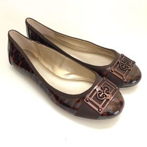 Isola brown tortoise patent ballet flats/ 6